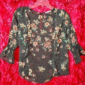 Black Floral Boho Print Blouse